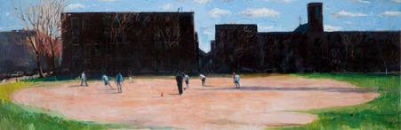 Gregory Prestegord, Soccer in South Philly, 16 x 36 inches, oil on panel