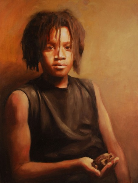 "Evan Harrington, ""Abdul Holding A Toad,"" 24 X 18 inches, oil on canvas"