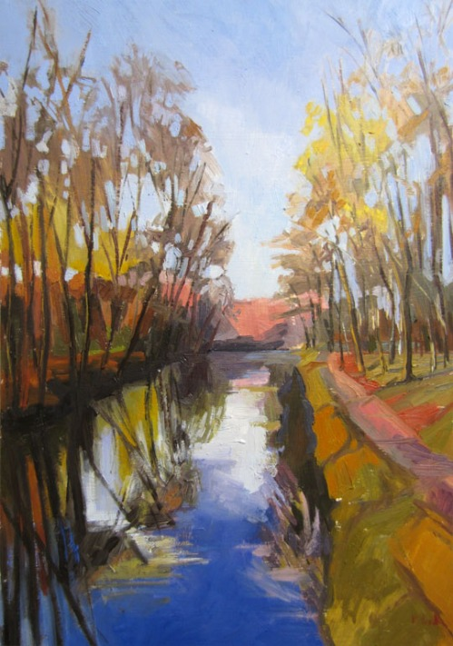 Kate Kern Mundie, Delaware Canal, 24 x 16 inches, oil on panel