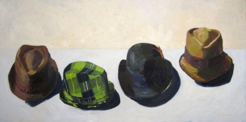 Kate Kern Mundie, Hats, 20 x 40 inches, oil on panel